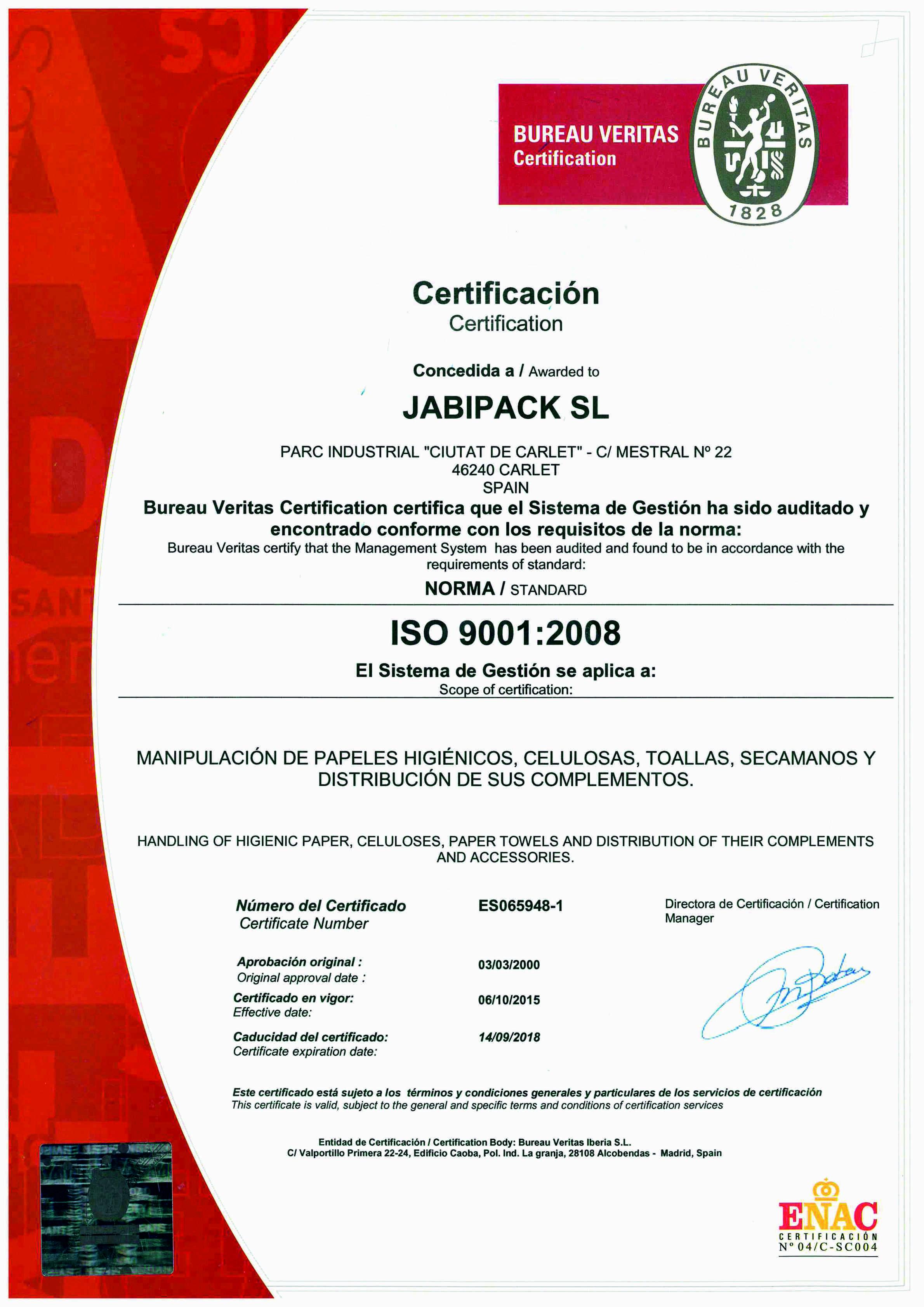 Certificado ISO 2015-18